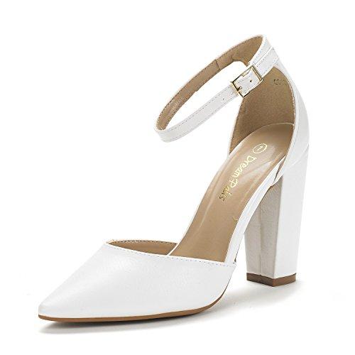 DREAM PAIRS Women's Coco White Pu Mid Heel Pump Shoes - 8.5 M US