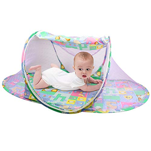 OBloved 2 Pack Baby Travel Bed Portable Folding Baby Crib Mosquito Net Foldable Baby Cots Breathable Newborn Play Pop up Tent
