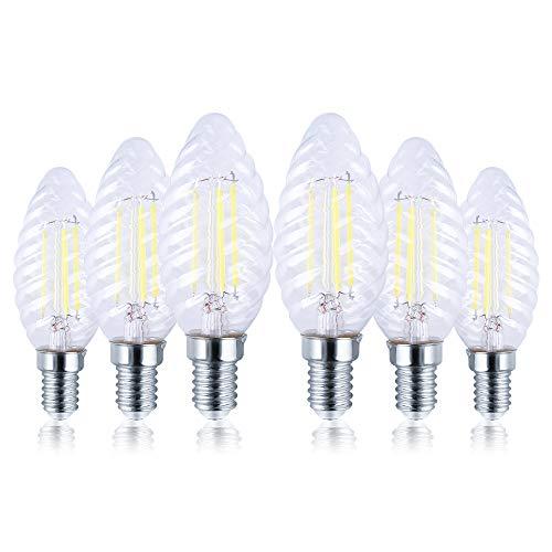 Ampoule Vintage E14 Bougie LED Dimmable Ampoules Blanc Froid, 6W Lampe LED équivalent Incandescence 60W, Rétro Ampoule Filament Pour Lustre, Aucun Scintillement, Lot de 6 [Classe énergétique A++]