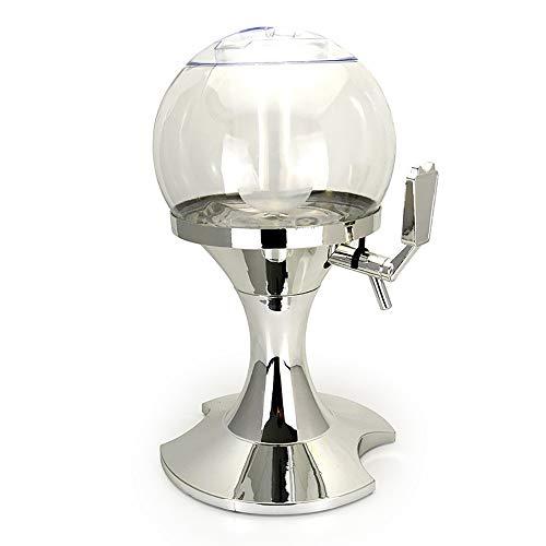 JIAGU Dispensador de bebidas 3,5 L esférico dispensador de cerveza torre de cerveza con tubo de hielo para el hogar, bar, pub, torre de bebidas (color: plata, tamaño: 19,5 x 25,5 x 41 cm)