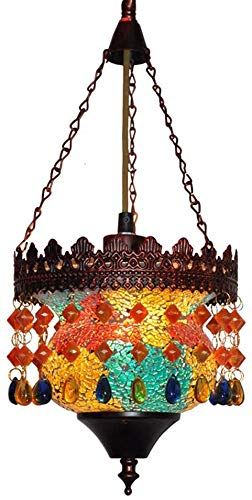 Moroccan Boho Pendant Light,Turkish Multi-Color Crystal...