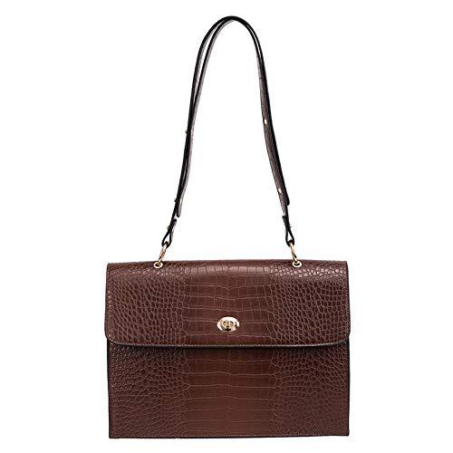 fdhdfh Big Size Women Single Messenger Shoulder Bag Crocodile Pattern Handbag Large Crossbody Bags Coffee 34 * 24 * 9Cm