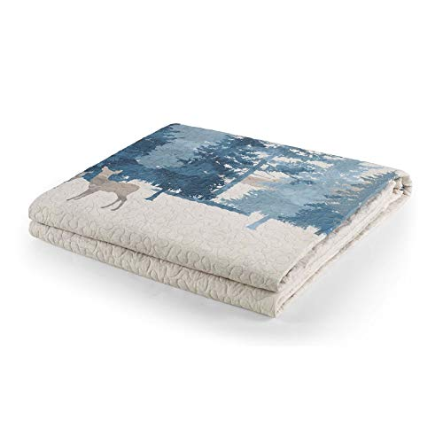 Throw Blanket - Watercolor Forest by Donna Sharp - Lodge Decorative Throw Blanket with Deer and Forest Pattern