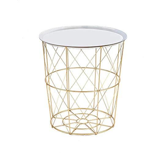 XMY Nachttisch, Wind Nordic Schmiedeeisen Kleiner Tisch, Couchtisch Nacht kleine Speichertabellenspeicher Lagerung verschmutzt Wäschekorb