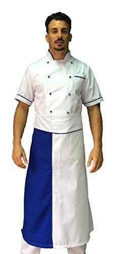 tessile astorino Bordado gratuito – Juego de cocinero de cocina – Uniforme Chef blanco y Royal – Chaqueta, pantalón y delantal – Fabricado en Italia, Blanco E Royal, XXL