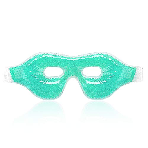 Gel Cooling Eye Mask,Ice Cold Compress for Puffy Eyes ,Dry Eyes and Dark Circles, Gel Bead (Green),100% Fit Skin