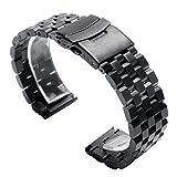 FWEOOFN Cinturini per Orologi 22mm 20mm Argento/Nero Acciaio Inossidabile Solid Link Cinturino Cinturino Chiusura Pieghevole con Sostituzione Uomini di Sicurezza (Color : Silver, Size : 22mm)