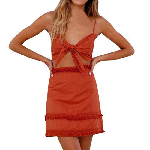 Saoye Fashion 2 Pezzi delle Donne delle Signore Bow Sling Lace Trim Giovane Abiti da Festa Set Ladies 2 Loop Top Gonna Set Mini Skirt Ladies Summer Outfits S Red (Color : Rot, Size : M)