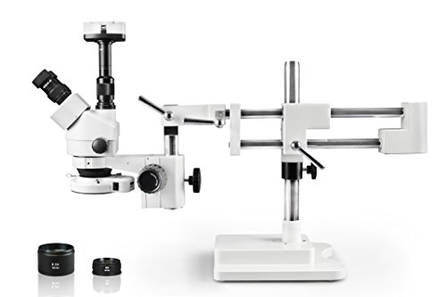 Vision Simul-Focal Trinocular Zoom Stereo Microscope,10x WF Eyepiece,3.5X—90x Magnification, 0.5X & 2X Aux Lens, Double Arm Boom Stand, 144-LED Ring Light with Control, 10.0MP Digital Eyepiece Camera