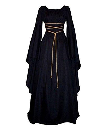 Mujer Mangas Largas Vestido Medieval De Señora Maxi Vestido Renacimiento Gótico Vestido Negro L
