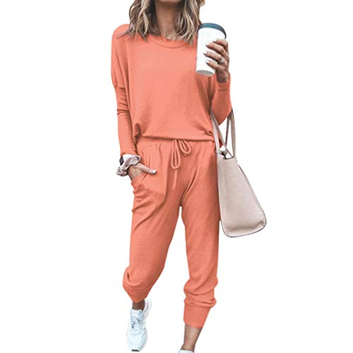 MoneRffi Damen Langarm Rundhalsausschnitt Solid Color Sportswear Trainingsanzug Set Jogging Sweatshirts Kapuze + Hose Freizeit Sportanzug 2 Stück