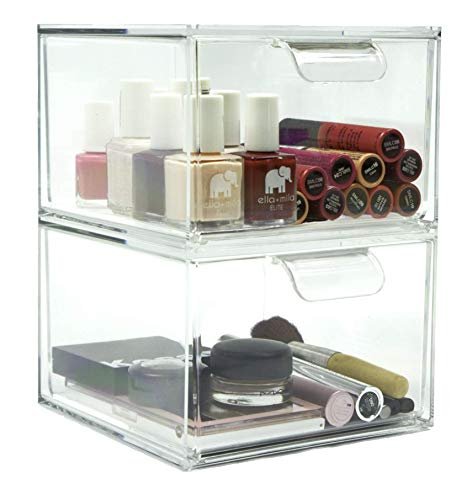 Stackable Kitchen and Bathroom Acrylic Drawer Organizer   Set of Two Drawers (Drawers Without Dividers)