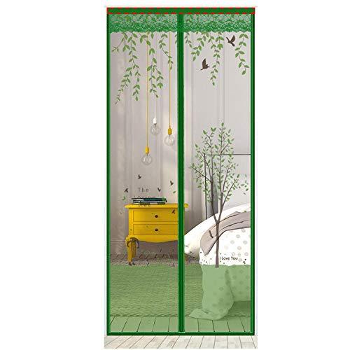 TTXP Patrón De Árbol Grande Verde Mosquitera Magnetica Puertas 120x210cm / 47x82inches Cortinas antimoscas para Puertas Puertas Ventanas,Fácil de Montar sin Taladrar