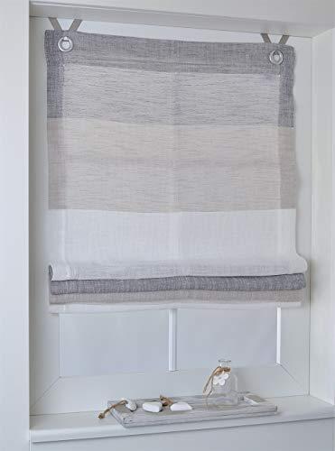 Raffrollo Ösenrollo Marit Creme/beige/grau Breite 100 x Höhe 120 cm
