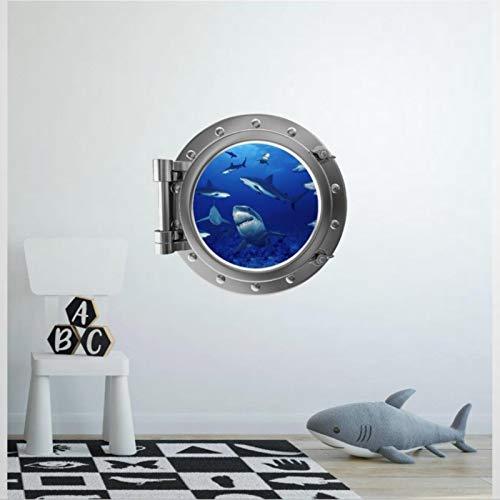 Port Scape Shark Frenzy Porthole Sticker Great White Sea 3D Round Window View Wall Decals Funny Stickers Home Decor Vinyl Sticker for Nursery,Kids Room,Bathroom,Fridge (17.7' Diameter)