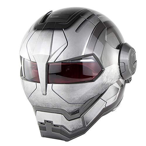 QWE Motorcycle Helmet D.O.T Certified Motocross Full Face Casco Moto Flip Open Mask Helmet, Iron Man Transformers-M, L, XL,Brightgray,L(59~60CM)