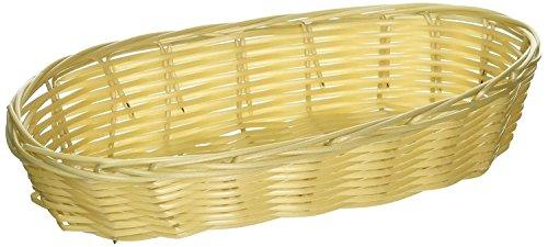 New Star Foodservice 44218 Food Serving Baskets 9 x 4.25 x 2 inch Oblong, Hand Woven, Polypropylene, Set of 12, Natural
