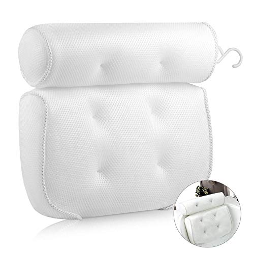 EXTSUD Badkussen badkussen comfort badkussen met 6 zuignappen badkussen nekkussen ergonomische Home Spa hoofdsteun voor bad, whirlpool 40 x 35 x 8 cm wit