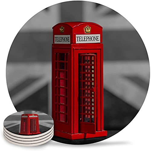 Drink Coasters London Red Telephone Booth Absorbent Stone Ceramic Coaster with Cork Back and NO Holder for Cups, Set of 6-Piece Black And White-6