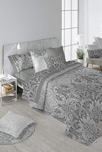 Stilia Norma-3-teiliges Bettwäscheset, Bettbezug + Kissenbezug + Spannbettlaken, (135 x 220 cm), Graphit, 220 x 220 cm