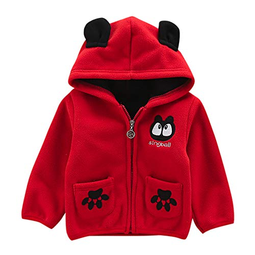 FeiliandaJJ Baby Jacken Jungen Mädchen Fleecejacken Kinder Winterjacke Mit Kapuze Mantel Oberteile Warme Kleidung Günstige Babyjacken (80 (6~12Monate), Rot)