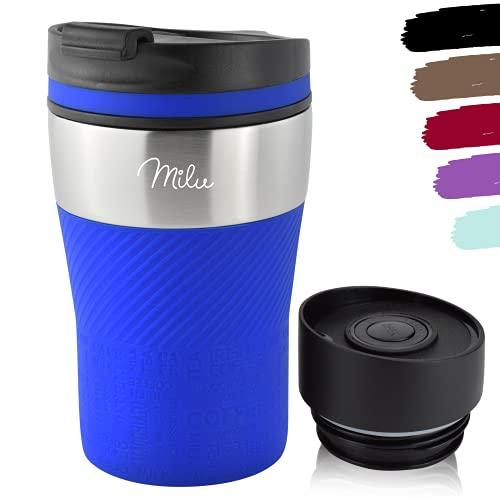 Milu Tazza termica da viaggio per caffè 210ml - 100% a Prova di perdite - Isolata Tazza di caffè e tè da portare via Tazza Termica da bere in acciaio inossidabile - Caldo e freddo (Blu, 210ml)