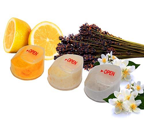 Healthy Splash - Blocs de recharge pour filtre de douche à la vitamine C – 1 citron – 1 lavande – 1 jasmin – Parfums pour pommeaux de douche filtrés à la vitamine C (citron, lavande, jasmin).