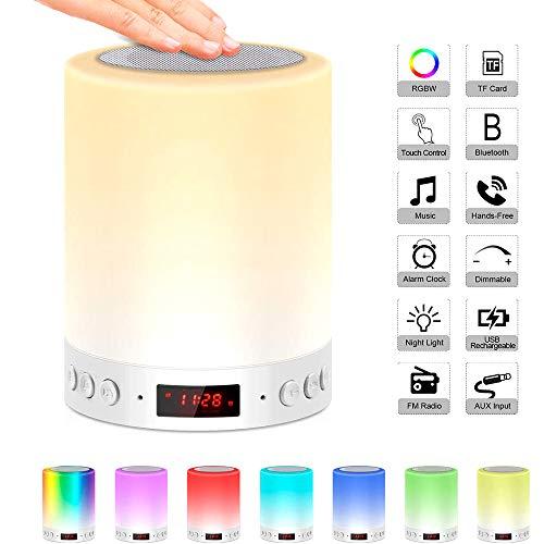 Covok luidspreker bedlampje 3W draagbaar, luidspreker Bluetooth USB voor mobiele telefoon/pc, met radio, subwoofer, LED-nachtlampje met touch sensor/wekker/Fm,7 kleurverandering dimbaar, muziekspeler (3 – 5h), wit 9,5*12,8cm wit