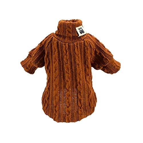 ASFJKSIE Cálido los Mascotas Cuello Alto suéter del Invierno Ropa for Perros de Punto for Perros pequeños Chihuahua Ropa Perrito Chaqueta de la Capa Productos Animales (Color : Khaki, Size : Large)