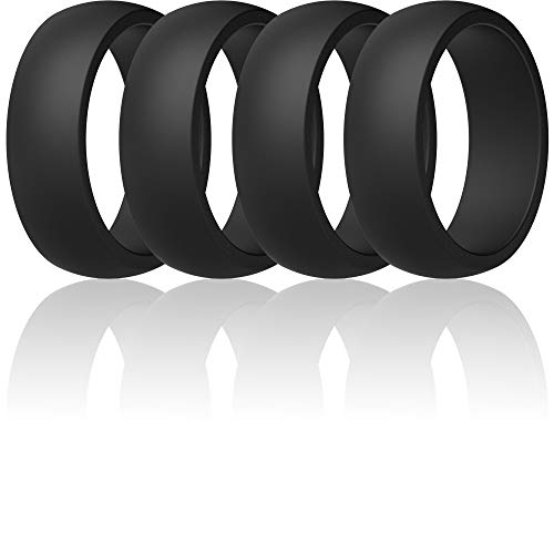 ThunderFit Mens Silicone Rings Wedding Bands - 4 Pack Classic & Middle Line (4 Black Rings, 10.5-11 (20.6mm))