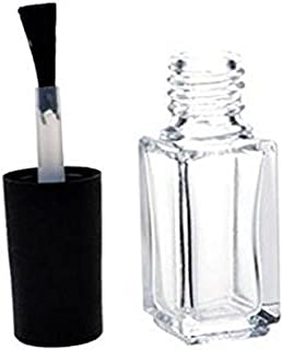 5 ML Empty Refillable Clear Square Shape Glass Nail Polish Bottles with Black Brush Cap,Pack of 5 Pieces