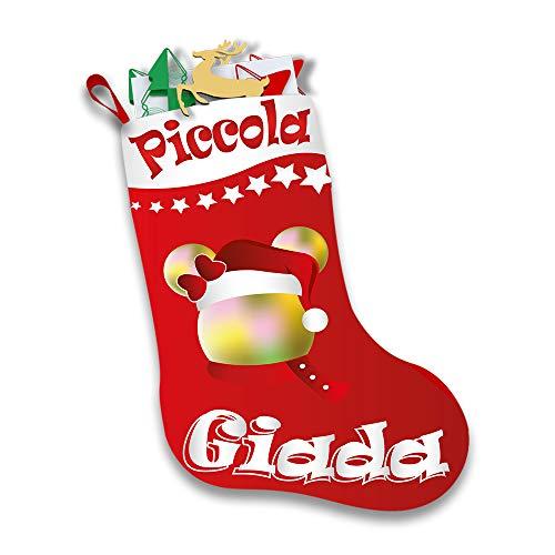 Altra Marca Calza Natalizia Personalizzata Porta Regali Epifania Topolino Natale con Nome (Rosso)