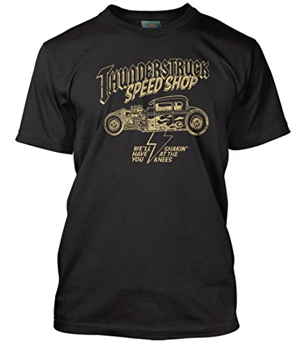 AC/DC Inspired Thunderstruck Speed Shop, Herren T-Shirt, XX Large, Schwarz