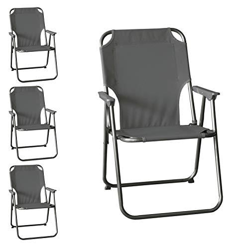 4 Stück Wohaga® Campingstuhl mit Armlehnen, klappbar, Stone, Klappstuhl Faltstuhl Gartenstuhl Strandstuhl Anglerstuhl