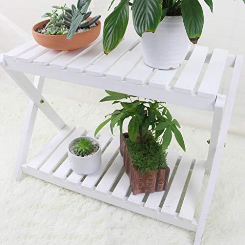 XIN Jardin Stand De Fleurs Étagère Pot De Fleurs Bois Massif Multicouche Mini Balcon Salon Blanc (taille : 50cm)