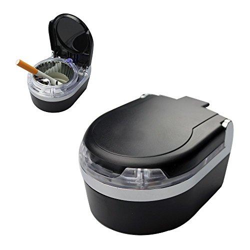 Cendrier portable pour tableau de bord Noir Avec lumière LED bleue
