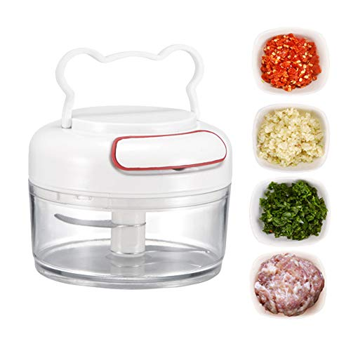 Beseneur Manual Food Chopper, Hand Pull Food Processor, Mini Mincer, Pull String Chopper For Onion Garlic Ginger Tomato Nuts Vegetable Chilli Meat Fruit, Kitchen Cutter