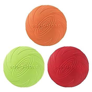 MOPOIN Frisbee Chien, 3 pièces Frisbee pour Chien Frisbee en Caoutchouc pour Dresser, Lancer, Attraper et Jouer des Chiens
