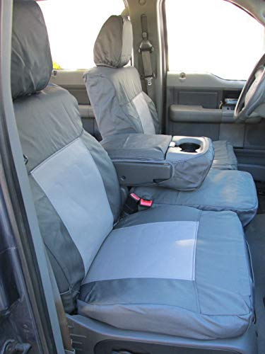 Durafit Seat Covers Compatible with 2004-2008 Ford F150 Double Cab Front 40/20/40 Split Bench Seat .Rear Solid Back 60/40 Split Bottom Bench Seat. Waterproof Charcoal Endura.