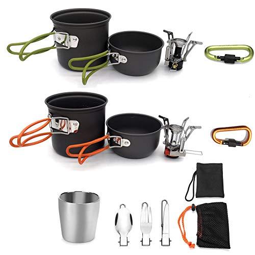 vajilla camping, junto cazuela, incluyendo utensilios de cocina de aluminio de camping 9 habitaciones, cubiertos plegable, mini estufa de camping (mango de color naranja) para el tipo de efectos