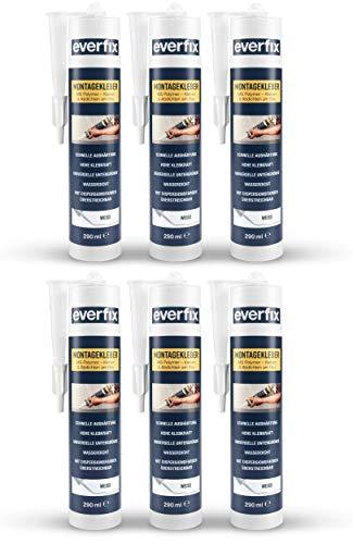 EVERFIX Montagekleber weiss (6 Stück) für innen und außen, extra starker Kraftkleber für Metall, Holz, Fliesen, etc, Baukleber zum Kleben und Abdichten, 325 g / 290 ml