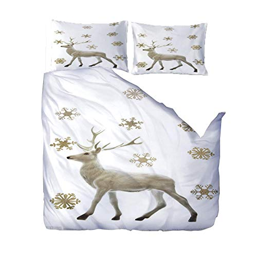 3D Print Duvet Cover Bedding Set Snowflake Animal Deer Double Size Super Soft Comfortable Anti-Mite Quilt Cover For Home Hotel(1 Duvet Cover + 2 Pillowcases)