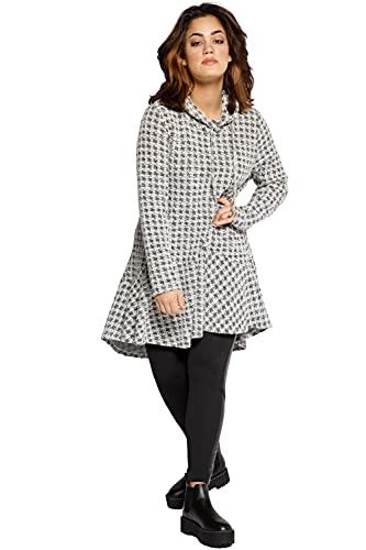 Ulla Popken Damen große Größen Übergrößen Plus Size Longshirt, Karo, Stehkragen, A-Linie, Volant, Langarm schwarz 46+ 798028130-46+