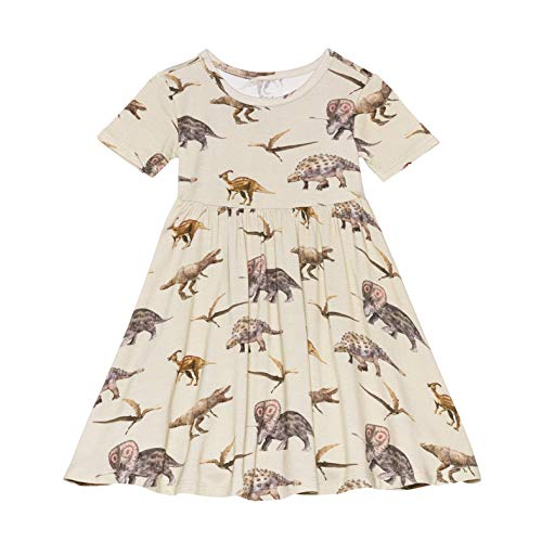 Posh Peanut Little Girls Dresses - Baby Clothes from Soft Viscose from Bamboo - Perfect Kids Summer Dress (Vintage Dino, 4T)