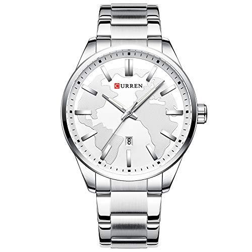 Curren Reloj de pulsera para hombre Simple Case Date Display Acero Casual Cuarzo Blanco 8366