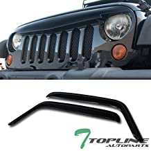 Topline Autopart Glossy Black Angry Bird Vertical Mesh Front Hood Bumper Grill Grille ABS + 2 Pieces Window Visors For 07-18 Jeep Wrangler JK