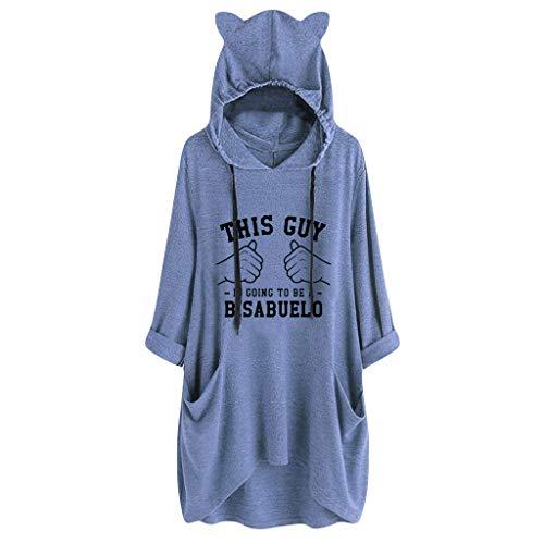 BOLANQ Damen Pullover top Shirt, Grobstrick braune feinstrick Dicke Kapuzen wollstrickjacke Baumwoll strickjäckchen Schurwolle Elegante(Medium,Blau)