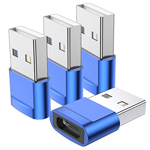 USB C Female to USB Male Adapter (4-Pack),Type C to USB A Charger Cable Adapter,Compatible with iPhone 11 12 Pro Max,iPad 2020,Samsung Galaxy Note 10 S20 Plus S20+ Ultra,Google Pixel 4 3 2 XL(Blue)
