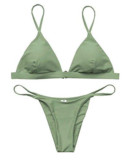 Macvise Women's 2 Pcs Bikini Triangle Top Brazilian Bottom Swimwear Bikini Set (Small(US 0-2), Z-Green)
