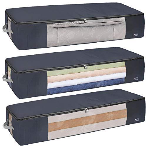 3PCS Underbed Storage Boxes, Under Bed Storage Box with Lid, Under bed Storage Bag with Zip for Clothing, Under Bed Storage Organiser, Oxford Jumbo Duvet Storage Bags for Bedding, Quilt, Blankets